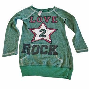 Beautees Love 2 Rock Sweatshirt Dress Green Small